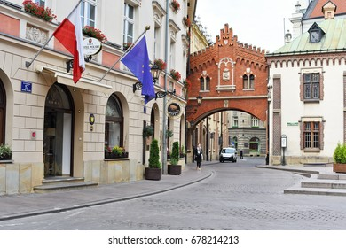 Krakow , Republic of Poland- July 3, 2017: Street of the old city.