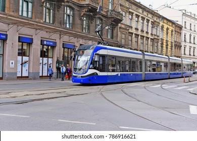 Krakow , Republic of Poland- July 3, 2017:  Modern tram in the streets of Krakow.
