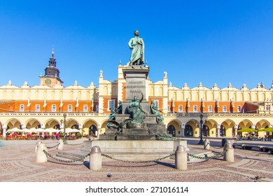 Krakow - the statue of Adam Mickiewicz on the main square in Krakow: the writing says: For Adam Mickiewicz - Nation, Poland