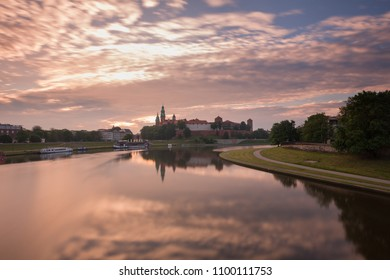 Krakow. Sunrise view of the city landscape