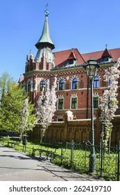 KRAKOW,POLAND - MARCH 15, 2015: Planty city park and seminary for Catholic priests, Krakow, Poland.