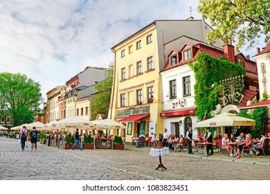 KRAKOW,POLAND - MAY 04, 2018: Colorful tenements in jewish district Kazimierz. Popular place in Krakow, Poland.