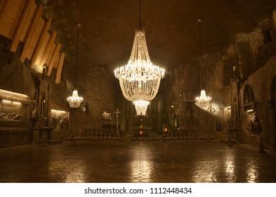 Krakow/Poland_NOV 28 2017 The Wieliczka Salt Mine, located in the town of Wieliczka in southern Poland, lies within the Kraków metropolitan