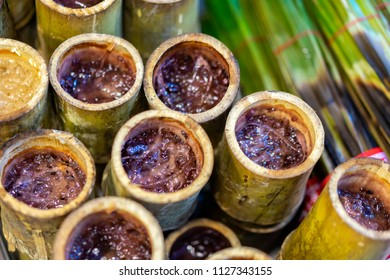 Kralan or Khao lam. Glutinous rice roasted in bamboo joints, it can be consumed as food or as a dessert It is a cultural food and is an OTOP product.
