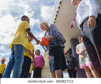 Kralendijk, Bonaire November-29-2018: Former Queen of the Netherlands now Princess Beatrix visiting Kolegio Strea Briante Kolegio Strea Briante was the winner of the UNICEF children rights movie.