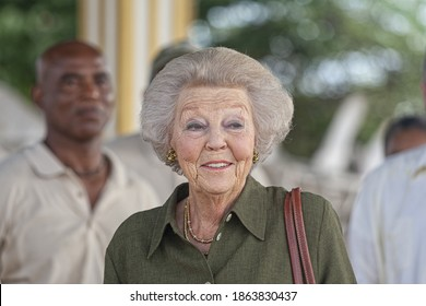 Kralendijk, Bonaire November-29-2018: Former Queen of the Netherlands now Princess Beatrix visiting Washington Slagbaai on Bonaire
