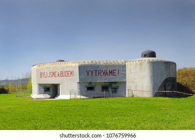 "KRALIKY, CZECH REPUBLIC - APRIL 21, 2018: Museum of the Czechoslovakian Territorial Fortifications 1935-1938, Infanty block K – S 14 ""U cihelny"" (""Brickworks"") in the Usti nad Orlici District"