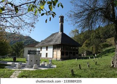 Kraljeva Sutjeska Bosnia and Herzegovina September 28th 2019 Mehmed II Fatih mosque 15th century  oldest in Bosnia cemetery in the yard