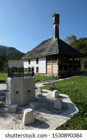 Kraljeva Sutjeska Bosnia and Herzegovina September 28th 2019 Mehmed II Fatih mosque 15th century  oldest in Bosnia fountain in the yard
