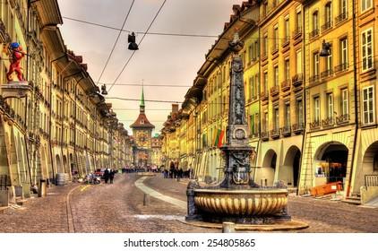 Kramgasse street in the Old City of Bern - UNESCO site in Switzerland