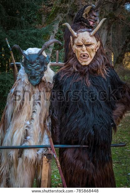 Krampus Devil Mask Carved Wooden Mask Stock Photo Edit Now 785868448