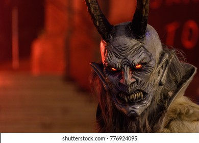 Krampus. Public show of Christmas devils