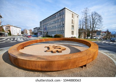 KRANJ, SLOVENIA - MARCH 13, 2018:  First blockchain monument in the world