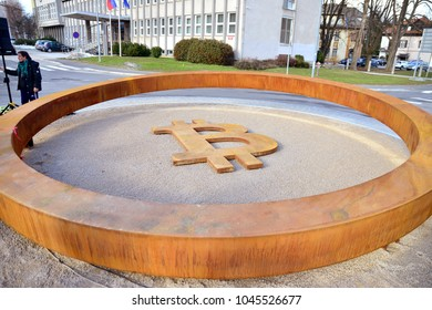 Kranj, Slovenia on MARCH 13., 2017. The world first monument devoted to blockchain technology in the center of the town.
