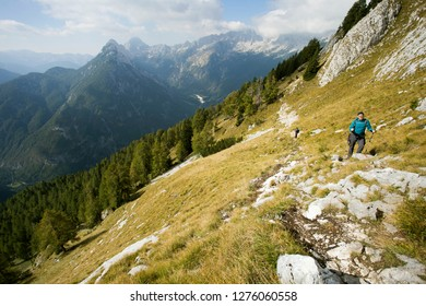 KRANJSKA GORA, CROATIA - CIRCA OCTOBER 2018. - Hiker on path to Prisojnik peak, Julian Alps - Slovenia.