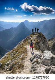 KRANJSKA GORA, SLOVENIA - CIRCA SEPTEMBER 2018. - Hikers in Julian Alps near Kranjska gora, Slovenia.
