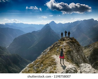 KRANJSKA GORA, SLOVENIA - CIRCA SEPTEMBER 2018. - Hikers in Julian Alps near Kranjska gora, Slovenia.