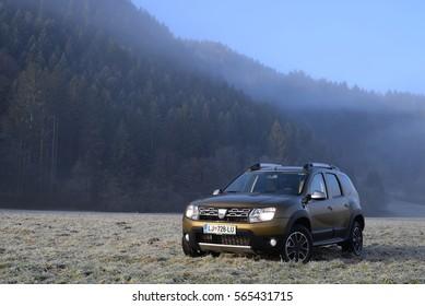 Kranjska Gora, Slovenia Dec 20 2015, Dacia Duster Urban Explorer 1.5 dCi 2015, Drive test