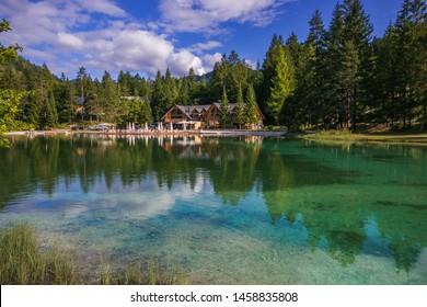 KRANJSKA GORA, SLOVENIA - JULY 19, 2019: Summer view of Jasna lake in the Julian Alps, Slovenia