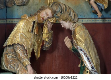 KRAPINA, CROATIA - JULY 01, 2013: Saint John the Nepomuk Confesses the Queen, statues on the altar of Saint John Nepomuk at the Church of Our Lady of Jerusalem at Trski Vrh in Krapina, Croatia