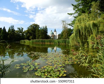 Krasiczyn castle its reflection in a lake, Poland