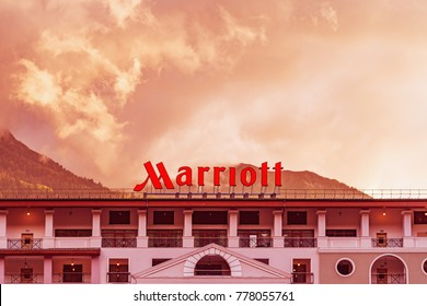 Krasnaya polyana, Russia - September 30, 2017: view of the facade of Marriott Hotel in the mountain valley before the thunderstorm.