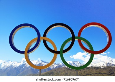 KRASNAYA POLYANA, SOCHI,  RUSSIA- 25  december 2016:Olympic rings on the background of snow mountains, Editorial..