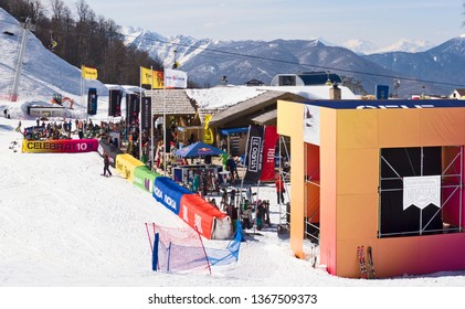 Krasnaya polyana, Sochi,  Russia - April 7, 2019: Quiksilver New Star Camp 2019 in Rosa Khutor. Extreme sport and musical festival in snowpark