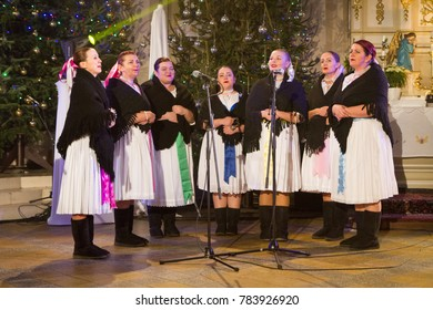 Krasno nad Kysucou, Slovakia. 2017/12/26. Folk music by the band 'Spevacka skupina Tisina' during the Christmas benefit concert 'V Slovenskom Betleheme' (In Slovakian Bethlehem).