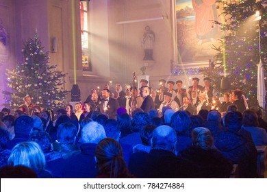 Krasno nad Kysucou, Slovakia. 2017/12/26. All the participating singers and musicians singing 'Silent Night' the Christmas benefit concert called 'V Slovenskom Betleheme' (In Slovakian Bethlehem).