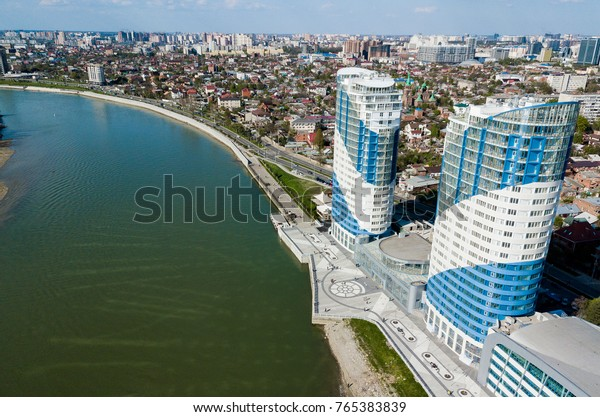 Krasnodar cityscape and Kuban river from aerial view. Krasnodar region, Russia
