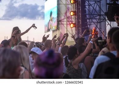 Krasnodar Krai Russia08032018 People Standing On People Stock Image 1266632341