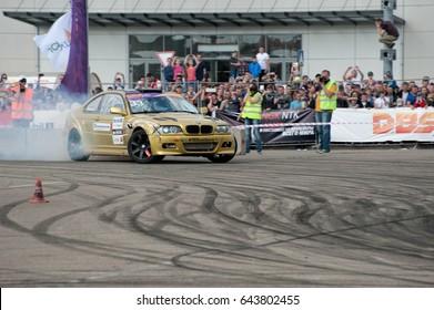 KRASNODAR - MAY 14, 2017: PUBLIC OPEN car battles in Drift Battle Series 2017, Russia, on May 14, 2017