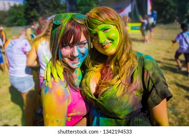 KRASNODAR, KRASNODAR REGION, RUSSIA 04.05.2018 :: A group of young girls at the Holi festival of colors in Russia