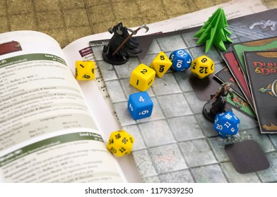 Krasnodar, Russia, 14 September 2018: Playing Dungeons and Dragons fantasy role play game. Dices, cards. Board games.