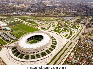 KRASNODAR, RUSSIA - April 15, 2019: Krasnodar cityscape and stadium FC Krasnodar from aerial view. Modern european city view