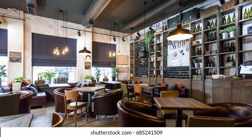 """Krasnodar Russia - April, 2017: loft restaurant """"Vino 251"""""""