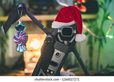 Krasnodar / Russia - December 17 2018: Mavic 2 pro - Christmas drone