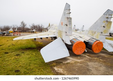 Krasnodar, Russia - February 23, 2017: Military aircraft fighters at the airport. Old decommissioned aircraft. Krasnodar airfield
