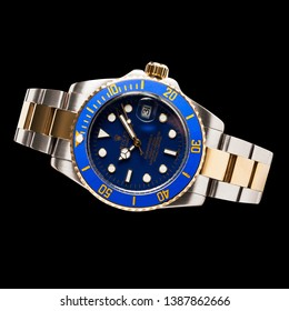 Krasnodar, Russia - January 18, 2019: Rolex Submariner. Rolex is one of the world most renounced luxury watch brand.