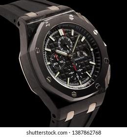 Krasnodar, Russia - January 18, 2019: Audemars Piguet, AP, Royal Oak Watch. Audemars Piguet is one of the world most renounced luxury watch brand.