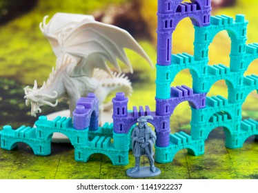 Krasnodar, Russia - July 25, 2018: Playing board game 'Elven Castle'; dragon, rpg character, elven castle