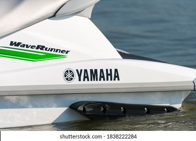 Krasnodar, Russia - July 25, 2020: Fragment of jet ski watercraft with Yamaha logo