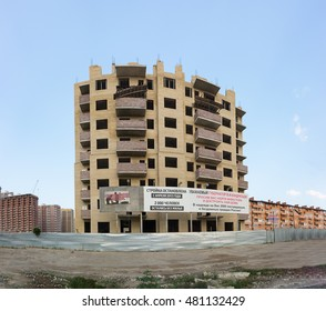 KRASNODAR, RUSSIA - JULY 26.2016: Unfinished due to the bankruptcy of the Builder multi-storey residential building on Moskovskaya street in the city of Krasnodar