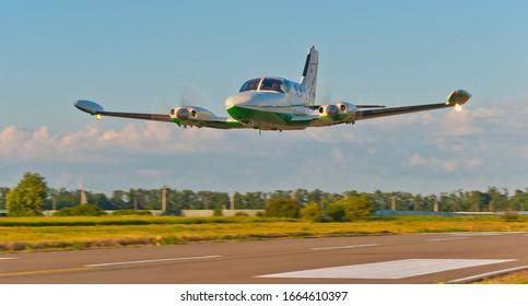 Krasnodar, Russia- June 16, 2017, a Cessna 340 passes over the runway during a demonstration flight.