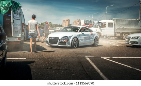 Krasnodar, Russia - MAY 19,2018: South drag racing battle, white Audi TT RS parked in the area for riders