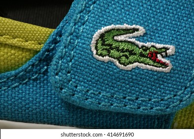 Krasnodar, Russia - May 27, 2016: Lacoste logotype. Lacoste a french company for the production of clothing, shoes, perfumes, leather goods.