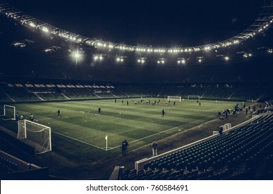 KRASNODAR, RUSSIA - November 14, 2017: General view of the Krasnodar stadium from the inside before a friendly match between the national teams of Argentina and Nigeria, 2017, Russia