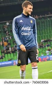 KRASNODAR, RUSSIA - November 14, 2017: Emanuel Mammana before a friendly match between the national teams of Argentina and Nigeria, 2017, Russia