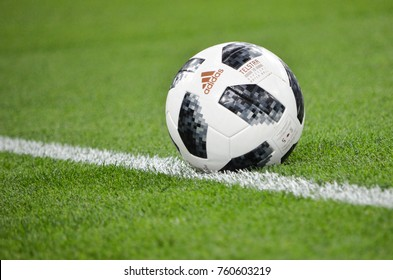 KRASNODAR, RUSSIA - November 14, 2017: The official ball Telstar 18 of the 2018 World Cup close-up during a friendly match between the national teams of Argentina and Nigeria, 2017, Russia